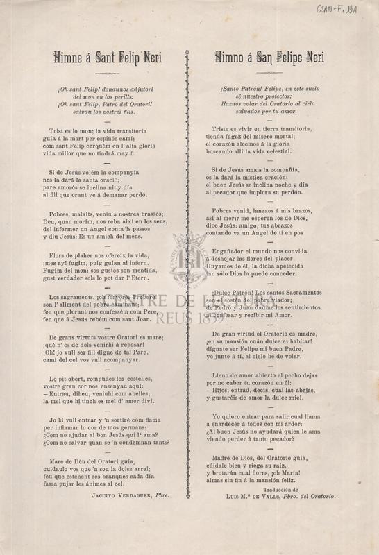 Himne á Sant Felip Neri = Himno á San Felipe Neri