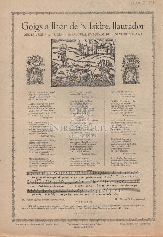 Goigs a llaor de S. Isidre, llaurador que es venera a l'església parroquial d'Ardèvol del bisbat de Solsona