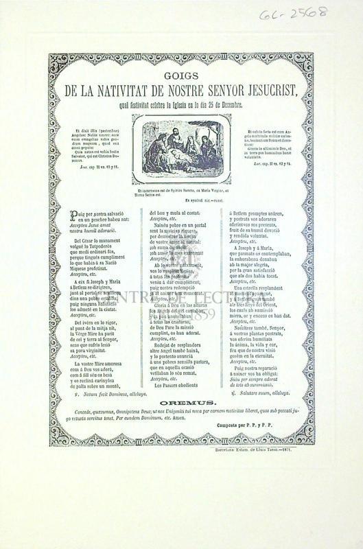 Goigs de la nativitat de Nostre Senyor Jesucrist, qual festa celebra la Iglesia en lo dia 25 de Decembre