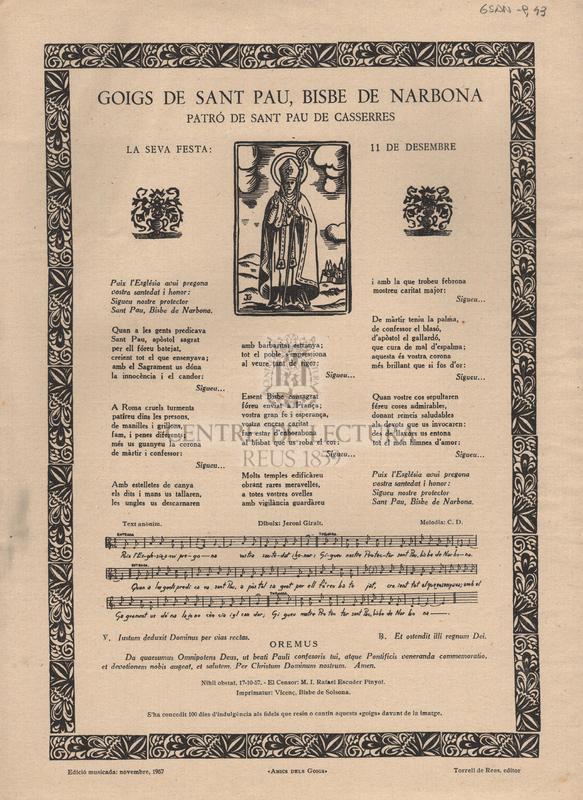 Goigs de Sant Pau, bisbe de Narbona Patró de Sant Pau de Casserres. La seva festa: 11 de desembre.