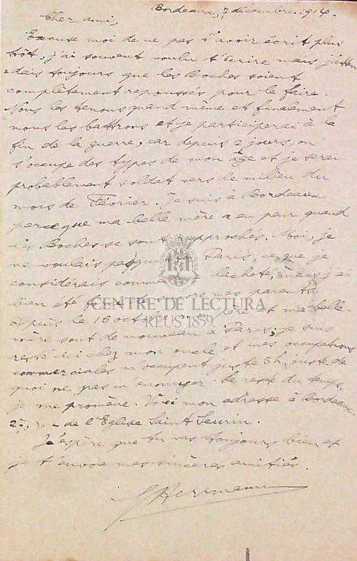 Carta postal a Ricard Ferraté