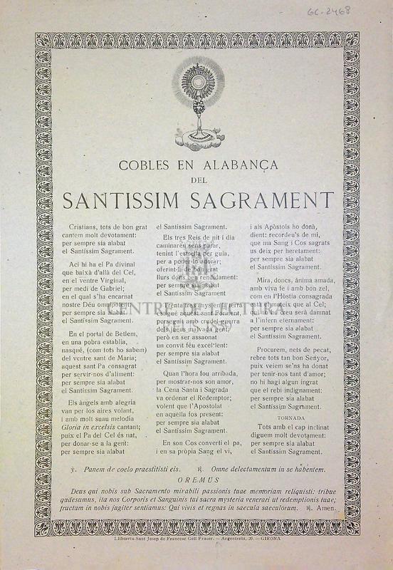 Cobles en alabança del santissim sagrament