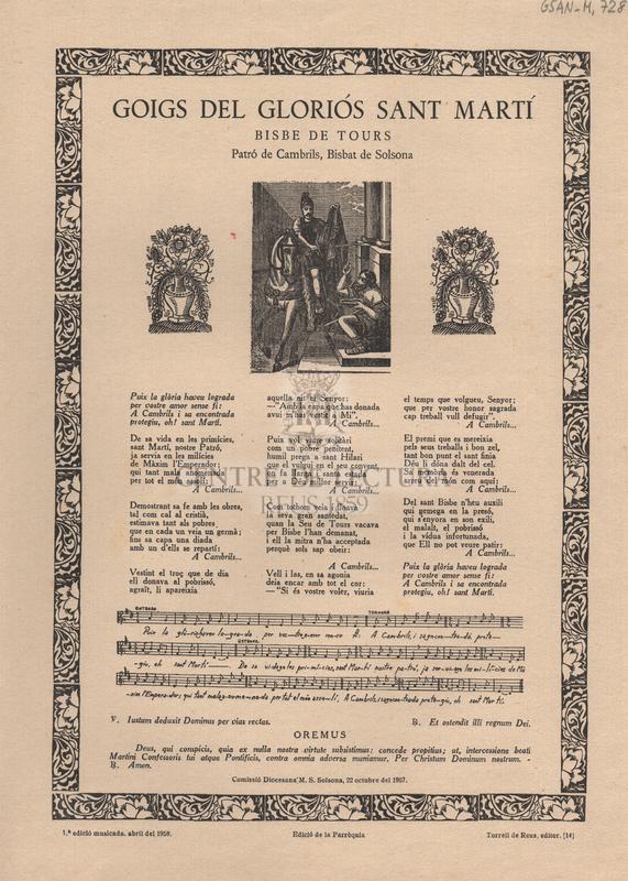 Goigs del gloriós Sant Martí. Bisbe de Tours. Patró de Cambrils, Bisbat de Solsona