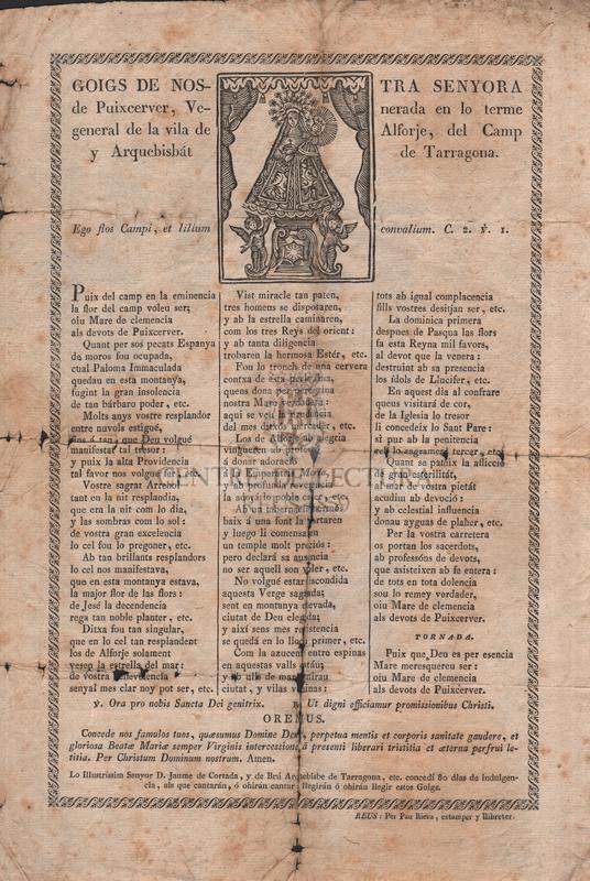 Goigs de Nostra Senyora de Puixcerver, venerada en lo terme general de la vila de Alforje, del Camp y Arquebisbát de Tarragona