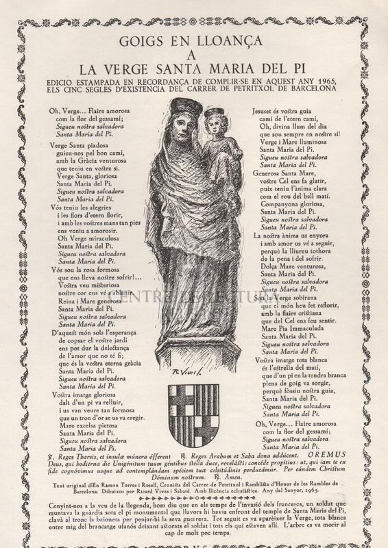 Goigs en lloança a la Verge Santa Maria del Pi.