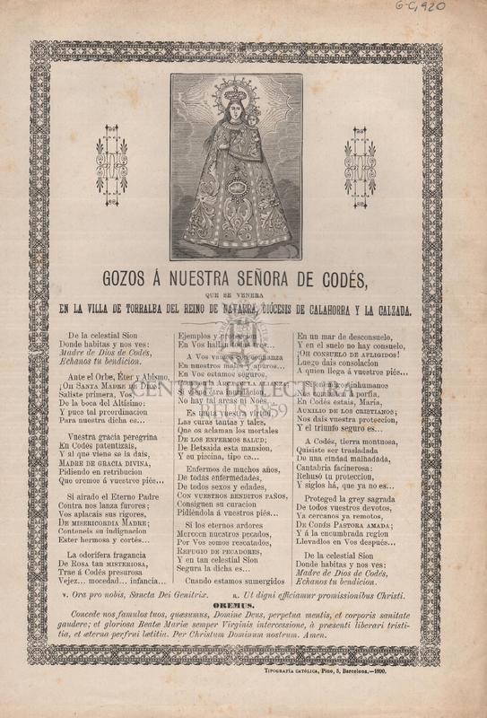 Gozos á Nuestra Señora del Codés que se venera en la villa de Torralba del reina de Navarra, Diócesis de Calahorra y la Calzada