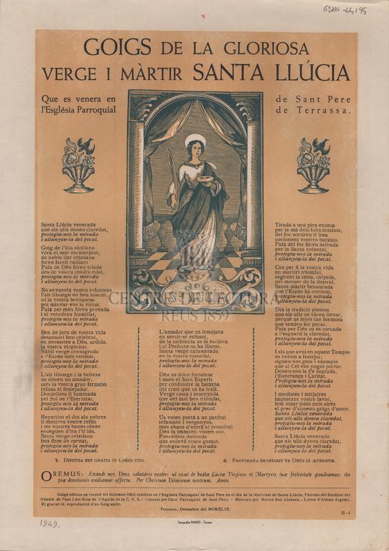 Goigs de la gloriosa Verge i Màrtir Santa Llúcia que es venera en l'Església Parroquial de Sant Pere de Terrassa.