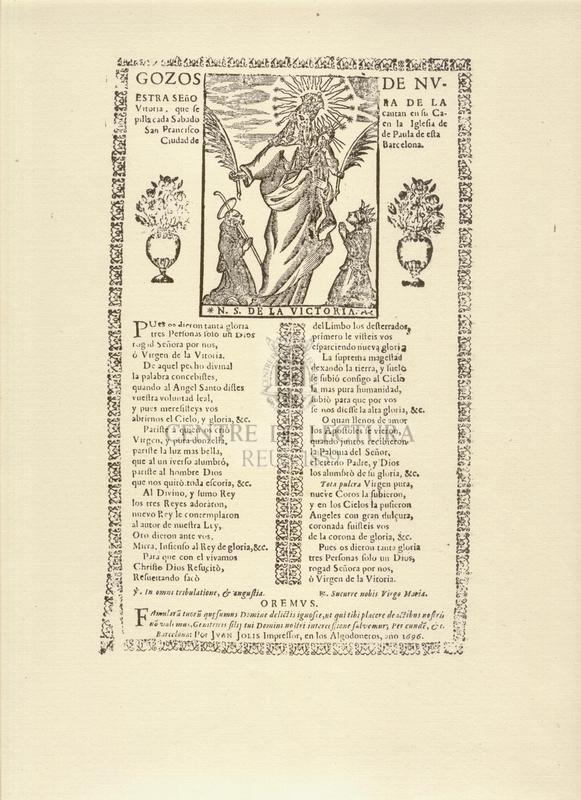 Gozos de Nuestra Señora de la Vitoria, que se cantan en su Capilla cada Sabado en la Iglesia de San Francisco de Paula de esta Ciudad de Barcelona