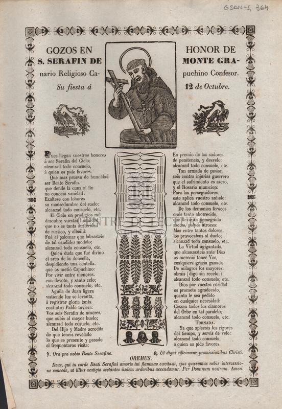 Gozos en honor de S. Serafin de Monte Granario religioso capuchino confesor.