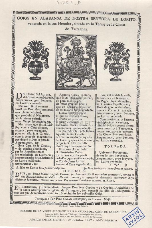 Goigs en alabansa de Nostra Senyora de Lorito, venerada en la sua Hermita, situada en lo terme de la ciutat de Tarragona