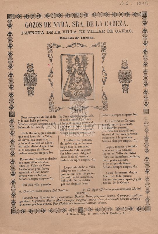 Gozos de Ntra. Sra. de la Cabeza, patrona de la Villa de Villar de Cañas, Diócesis de Cuenca