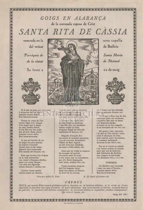 Goigs en alabança de la coronada esposa de Crist santa Rita de Càssia, venerada en la seva capella del veïnat de Batlleix, Parròquia de Santa Maria de la ciutat de Mataró, Sa festa a 22 de maig