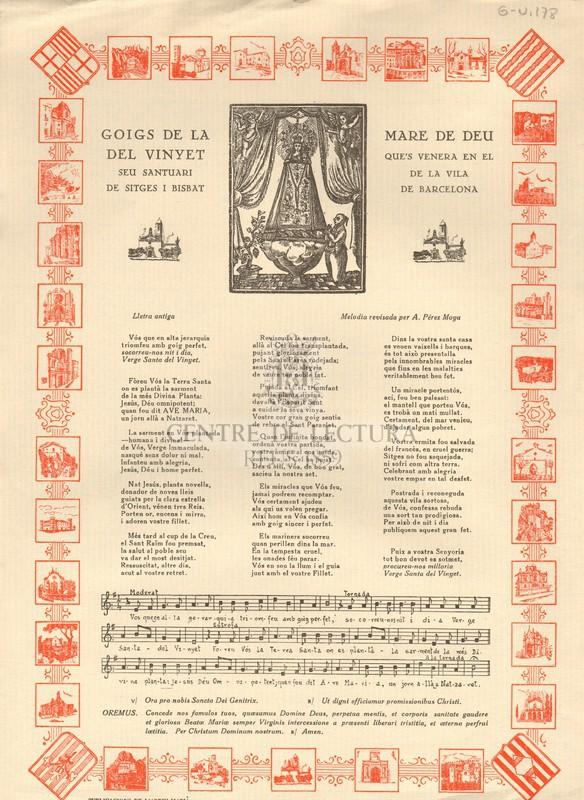 Goigs de la Mare de Déu del Vinyet que's venera en el seu Santuari de la Vila de Sitges i Bisbat de Barcelona