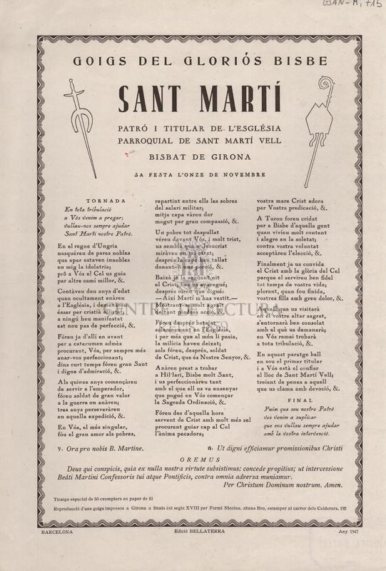 Goigs del gloriós bisbe Sant Martí. Patró i titular de l'església parroquial de Sant Martí Vell. Bisbat de Girona. Sa festa l'onze de novembre