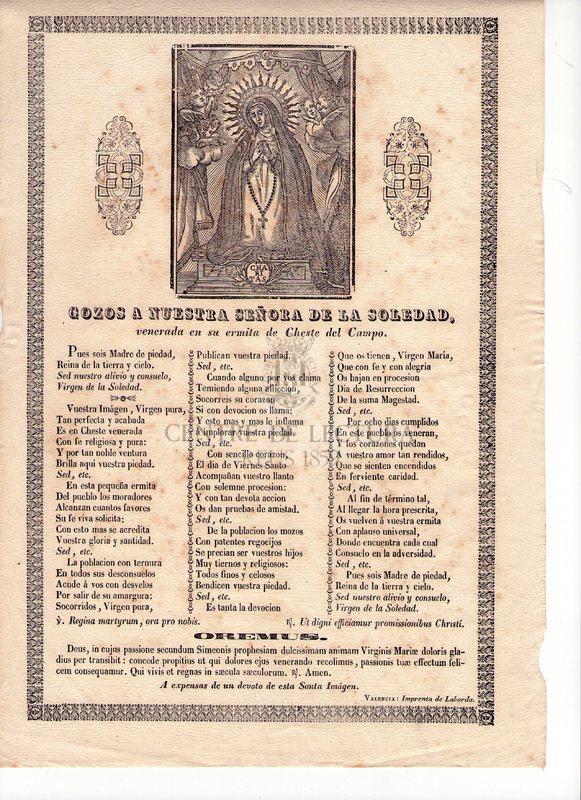 Gozos a Nuestra Señora de la Soledad, venerada en su ermita de Cheste del Campo