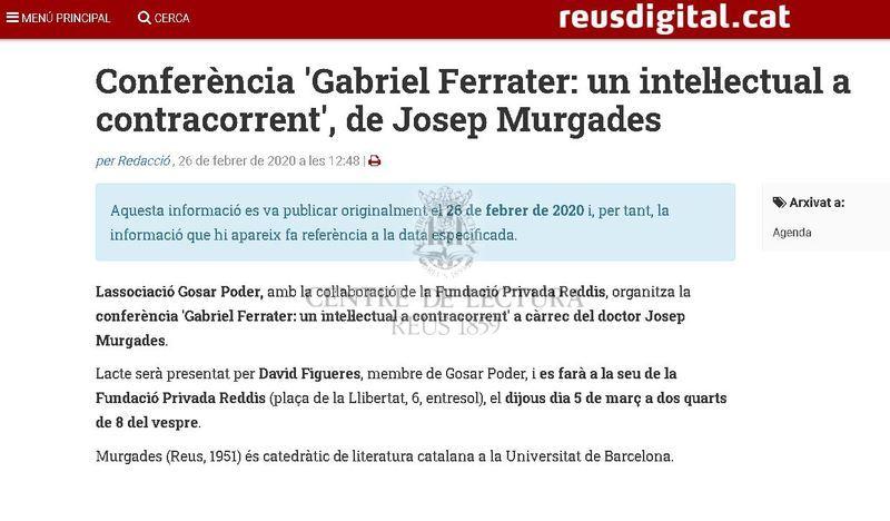 Conferència 'Gabriel Ferrater: un intel·lectual a contracorrent', de Josep Murgades