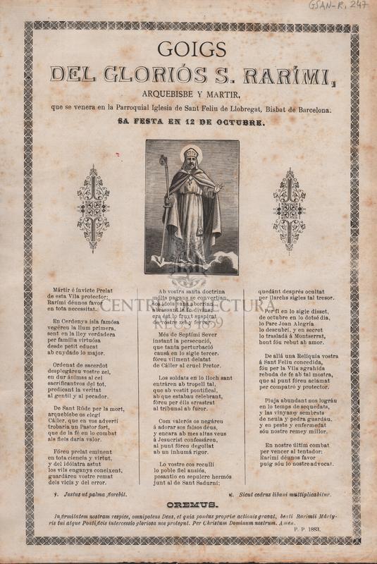 Goigs del gloriós S. Rarimi, Arquebisbe y Martir, que se venera en la Parroquial Iglesia de Sant Feliu de Llobregat, Bisbat de Barcelona. Sa festa en 12 de Octubre