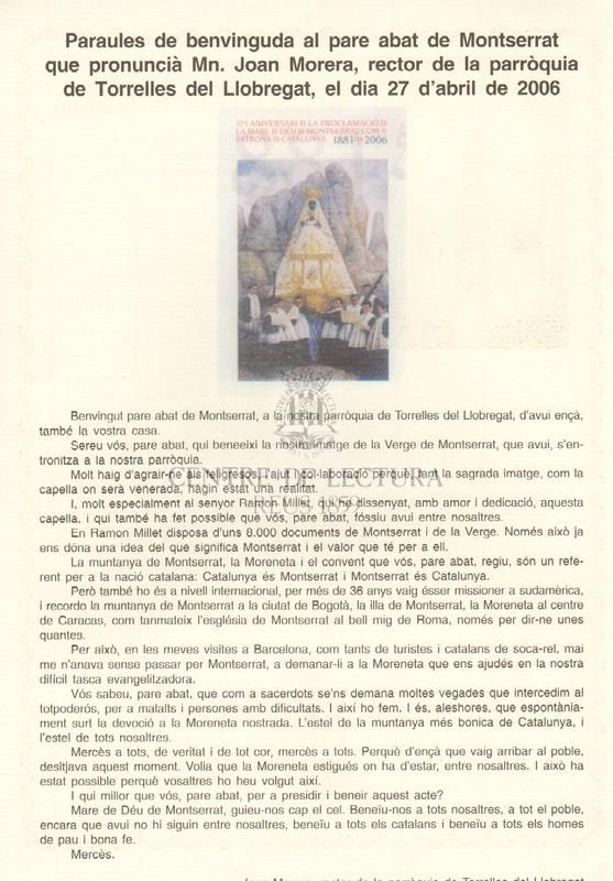 Goigs a la Mare de Déu de Montserrat patrona de Catalunya, compatrona dels Amics dels Goigs i venerada a l'església parroquial de Torrelles del Llobregat, la seva festa, el 27 d'abril