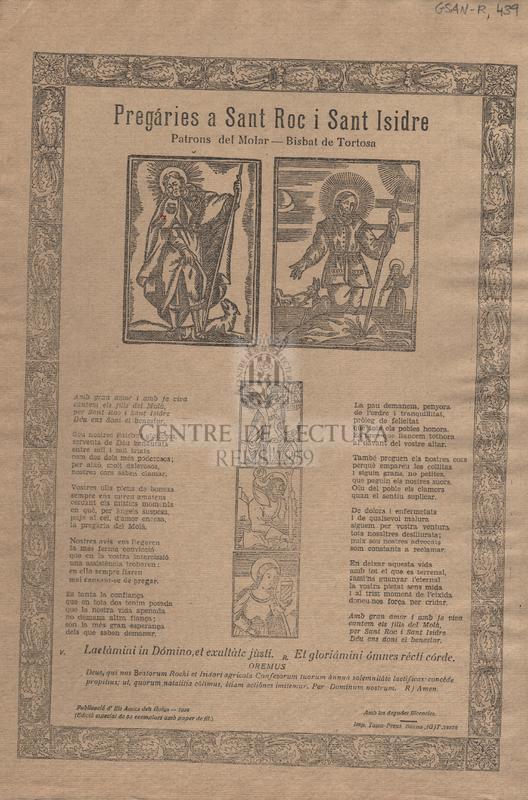 Pregáries a Sant Roc i Sant Isidre. Patrons del Molar - Bisbat de Tortosa