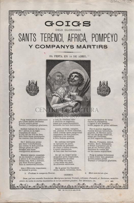 Goigs dels gloriosos Sants Terénci, Africá, Pompéyo y companys mártirs