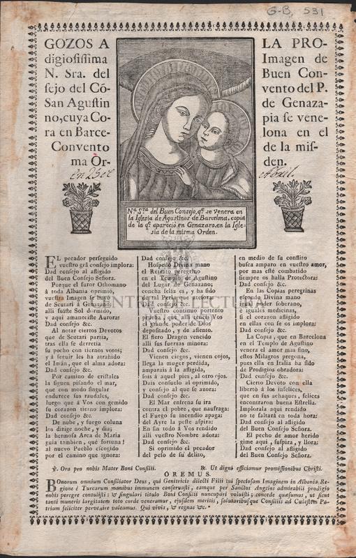 Gozos a la prodigiosissima Imagen de N. Sra. del Buen Consejo del Convento del P. San Agustin de Genazano, cuya copia se venera en Barcelona en el Convento de la misma orden