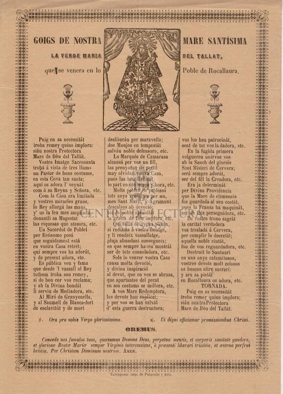 Goigs de Nostra Mare Santísima la Verge Maria del Tallat, que se venera en lo Poble de Rocallaure