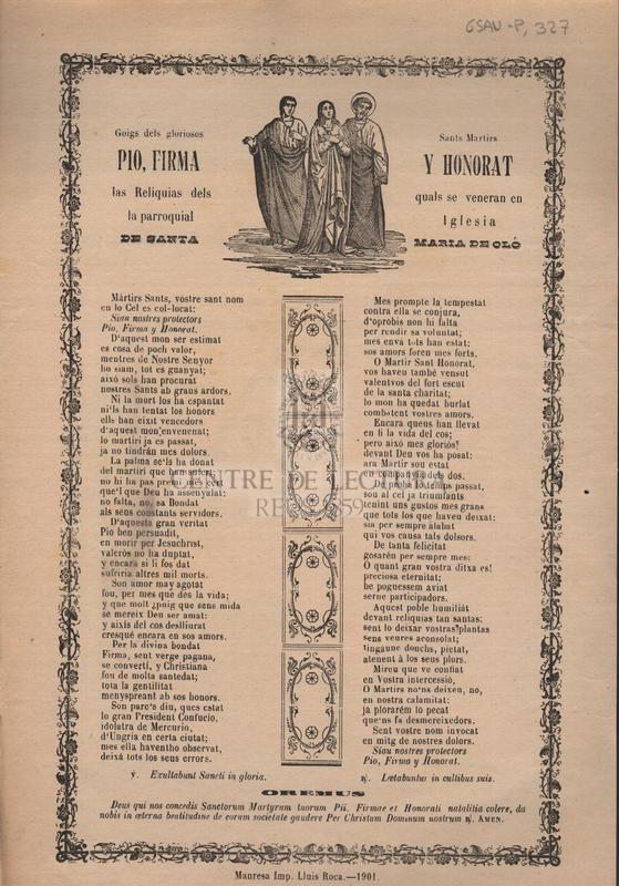 Goigs dels gloriosos Sants Martirs Pio, Firma y Honorat las Reliquias dels quals se veneran en la parroquial Iglesia de Santa Maria de Oló