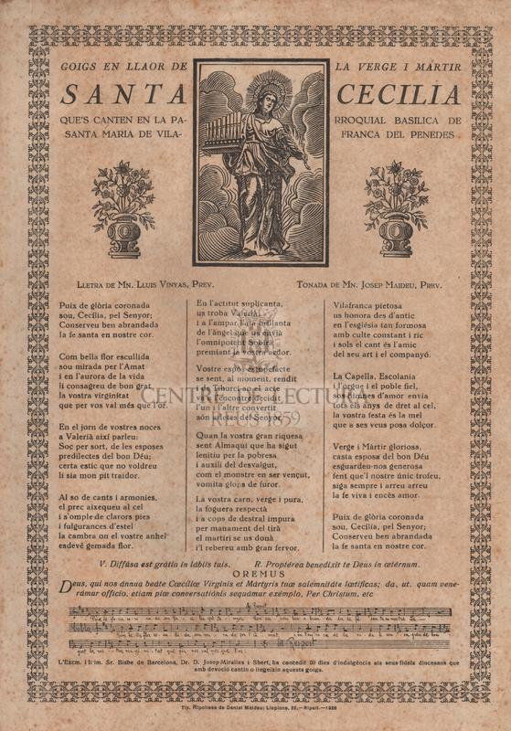 Goigs en llaor de la verge i mártir santa Cecilia, que's canten en la parroquial basilica de Santa Maria de Vilafranca del Penedes