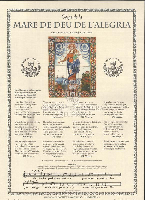 Goigs dedicats a la Mare de Déu : advocacions que figuren en el camí dels Degotalls de Montserrat