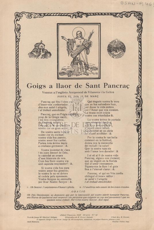 Goigs a llaor de Sant Pancraç venerat a l'esglesia Arxiprestal de Vilanova i la Geltrú festa el dia 9 de març