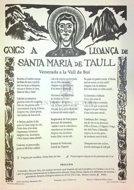 Goigs a lloança de Santa Maria de Taüll venerada a la Vall de Boí