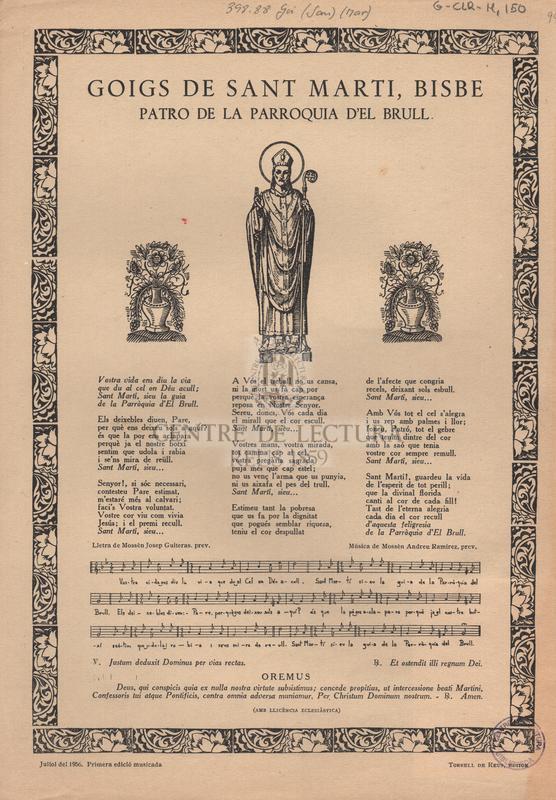 Goigs de sant Martí, bisbe patro de la parroquia d'el Brull.