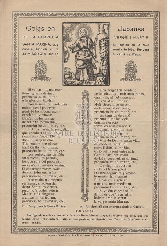 Goigs en alabansa de la gloriosa verge i martir Santa Marina, que se cantan en la seva capella, fundada en la ermita de Ntra. Senyora de Misericordia de la ciutat de Reus