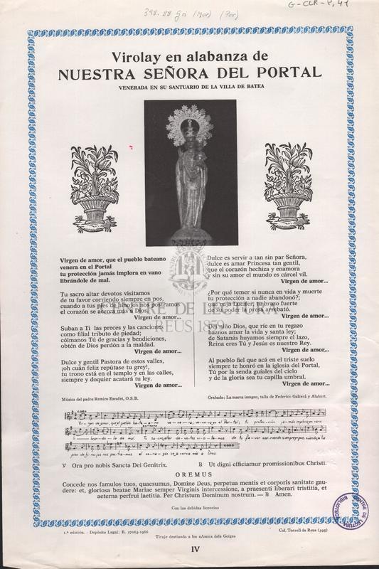 Virolay en alabanza de Nuestra Señora del Portal venerada en su santuario de la villa de Batea.