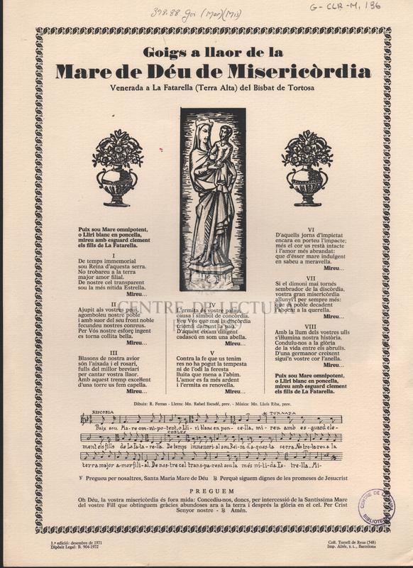 Goigs a llaor de la Mare de Déu de Misericòrdia venerada a La Fatarella (Terra Alta) del Bisbat de Tortosa.
