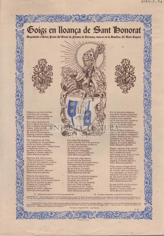 Goigs en lloança de Sant Honorat. Arquebisbe d'Arlés, Patró del Gremi de forners de Terrassa, venerat en la Basílica del Sant Esperit