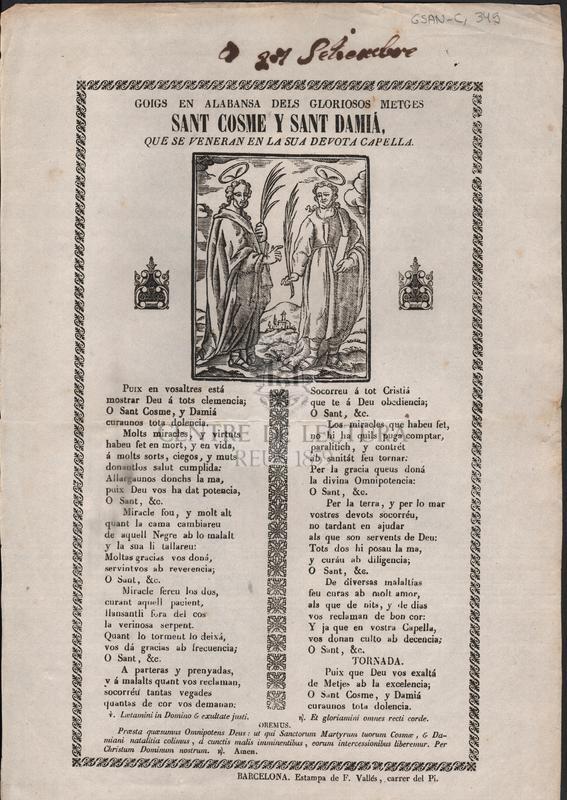 Goigs en alabansa dels gloriosos metges Sant Cosme y Sant Damiá, que se veneran en la sua devota capella