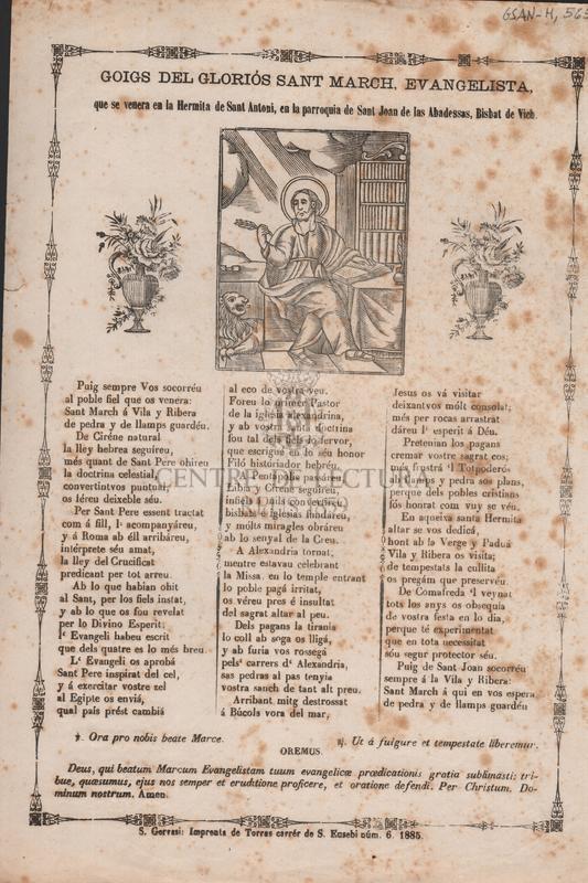 Goigs del gloriós Sant March, Evangelista, que se venera en la Hermita de Sant Antoni, en la parroquia de Sant Joan de les Abadessas, Bisbat de Vich