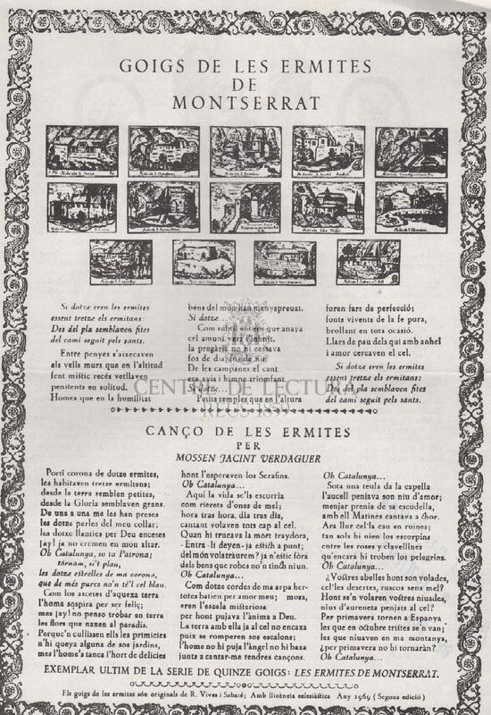 Goigs de les ermites de Montserrat i Cançó de les ermites per Mossen Jacint Verdaguer