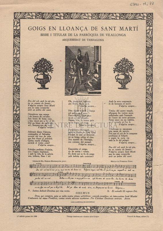 Goigs en lloança de Sant Martí Bisbe i titular de la Parròquia de Vilallonga arquebisbat de Tarragona