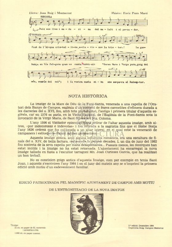 Goigs a la Mare de Déu de la Font-Santa que es venera a l'oratori de Sant Joan dels Banys de Campos, Bisbat de Mallorca