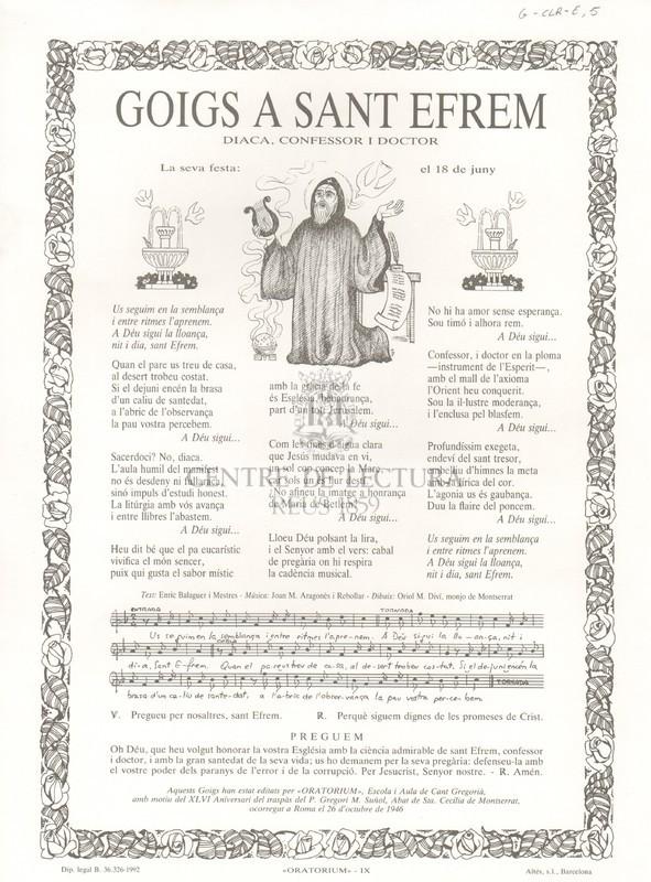 Goigs a Sant Efrem diaca, confessor i doctor