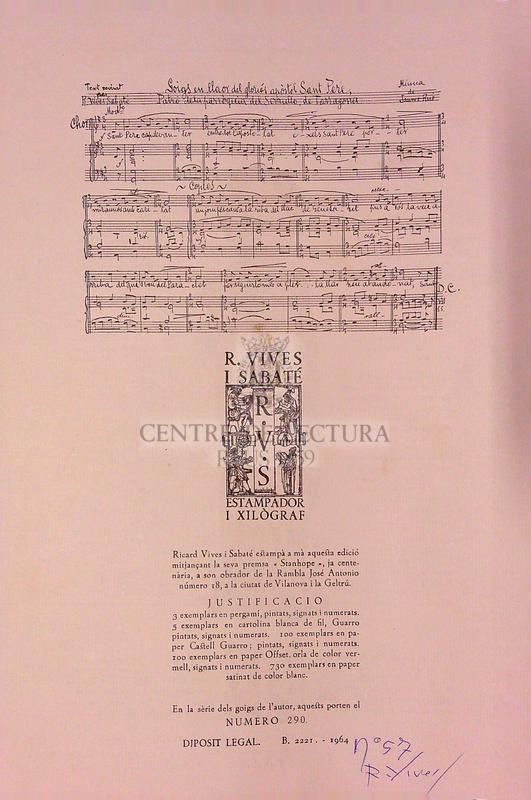 Goigs en llaor del gloriós Apostol Sant Pere venerat patró de l'església parroquial del Serrallo de Tarragona