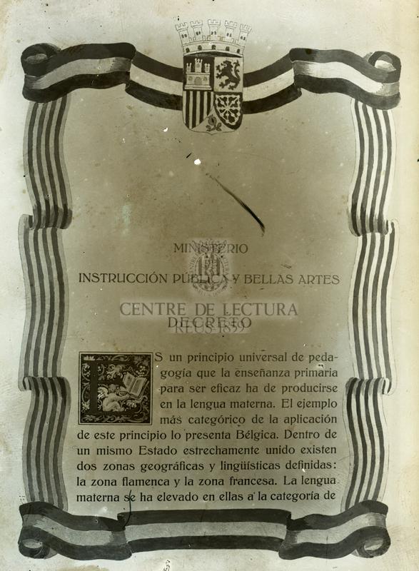 """Decret del Ministeri de """"Instrucción Pública y Bellas Artes"""""""