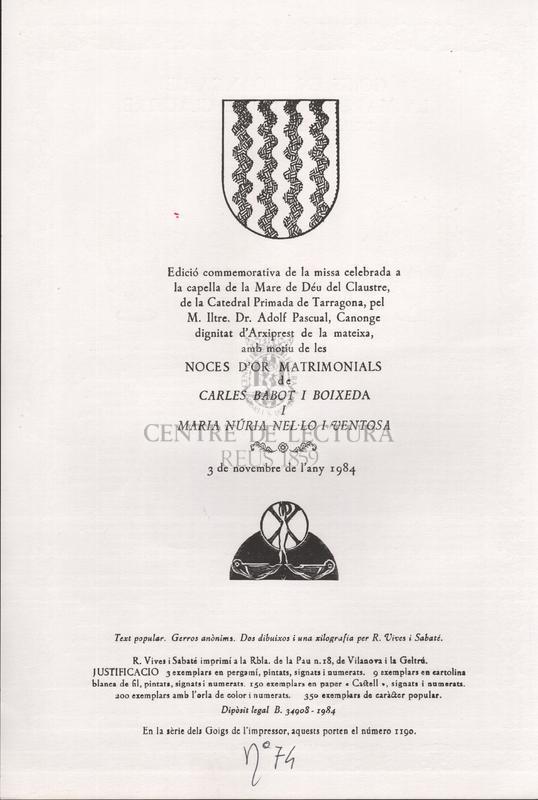Goigs en lloança de la Mare de Deu del Claustre de la Seu de Tarragona.