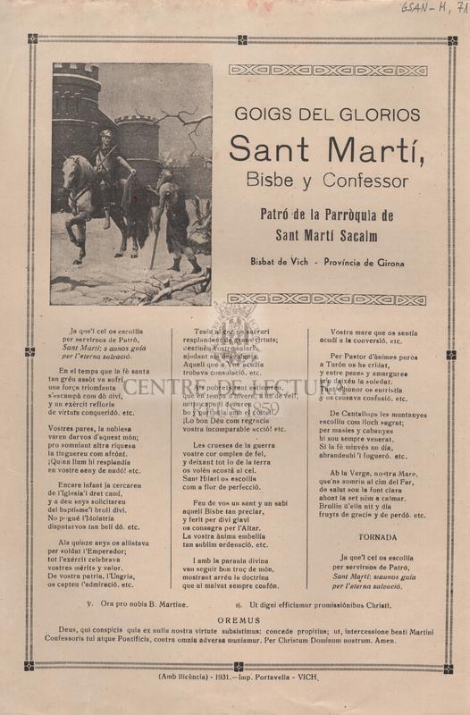 Goigs del glorios Sant Martí, Bisbe y Confessor. Patró de la Parròquia de Sant Martí Sacalm. Bisbat de Vich - Província de Girona