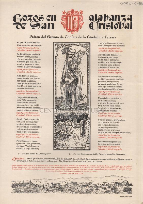 Gozos en alabanza de San Cristòbal,patron del Gremio de Chofers de la Ciudad de Tarsasa