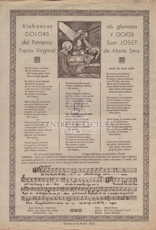 Alabances als gloriosos dolors i goigs del Patriarca Sant Josep, espòs virginal de Maria Sma.