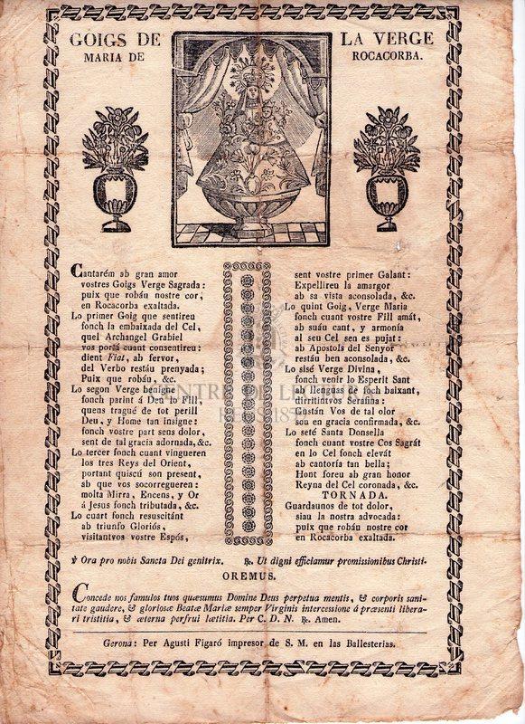 Goigs de La Verge Maria de Rocacorba