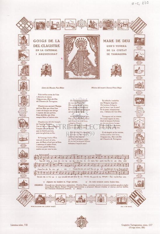 Goigs de la Mare de Déu del Claustre que's venera en la catedral de la ciutat i arquebisbat de Tarragona.